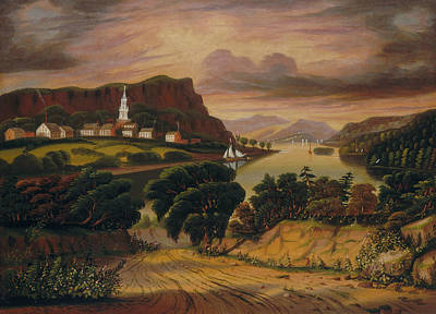 Lake George Painting - Lake George And The Village Of Caldwell by Thomas Chambers
