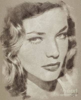 Musicians Drawings Rights Managed Images - Lauren Bacall Vintage Hollywood Actress Royalty-Free Image by Esoterica Art Agency