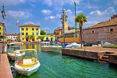 Photograph - Lazise Colorful Harbor And Boats View by Brch Photography