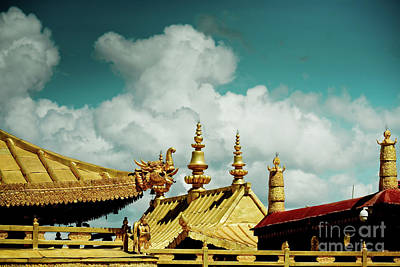 Roadblock Photograph - Lhasa Jokhang Temple Fragment Tibet Artmif.lv by Raimond Klavins
