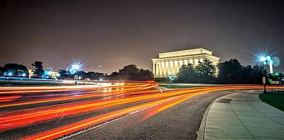 Photograph - Lincoln Memorial Monument With Car Trails At Night by Alex Grichenko
