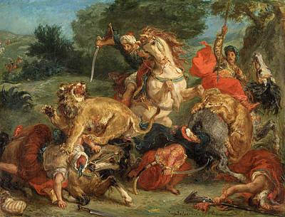 Amusement Ride Painting - Lion Hunt by Eugene Delacroix
