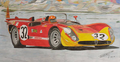 Sportscar Drawing - 3 Liters And Red Paint by Gustavo Bondoni