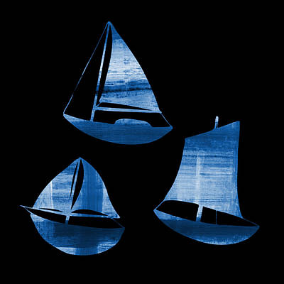 Black Background Painting - 3 Little Blue Sailing Boats by Frank Tschakert