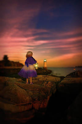 Photograph - A Little Girl With A Lantern by Lilia D