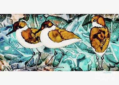 Painting - 3 Little Shorebirds by Jan Killian