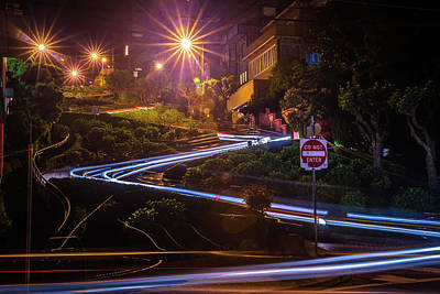 Photograph - Lombard Street On Russian Hill At Night In San Francisco Califor by Alex Grichenko
