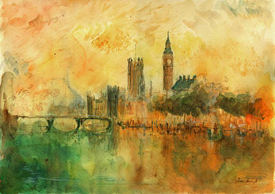 Tower Bridge Painting - London Watercolor Painting by Juan  Bosco