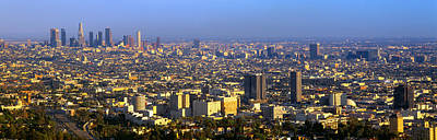 Los Angeles Skyline From Mulholland Art Print by Panoramic Images