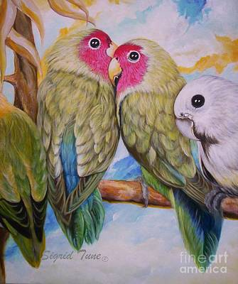 Painting - Flygende Lammet   Productions             3 Love Birds Perched by Sigrid Tune