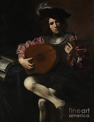 Song Book Painting - Lute Player by Valentin de Boulogne