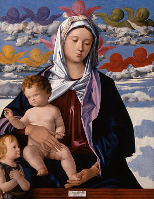 Baptism Painting - Madonna And Child With St. John The Baptist by Giovanni Bellini