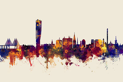 Sweden Digital Art - Malmo Sweden Skyline by Michael Tompsett