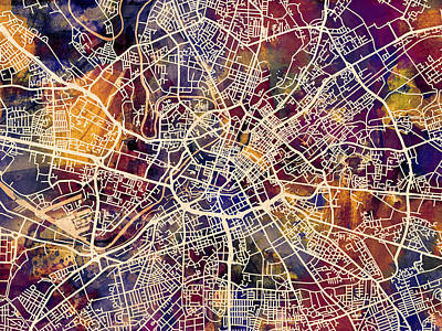 Great Britain Digital Art - Manchester England Street Map by Michael Tompsett