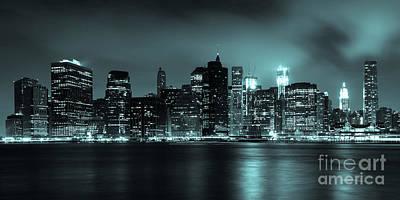 Polaroid Camera - Manhattan skyline by night from Brooklyn bridge park by Samuel Borges