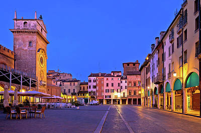 Photograph - Mantova City Piazza Delle Erbe Evening View Panorama by Brch Photography