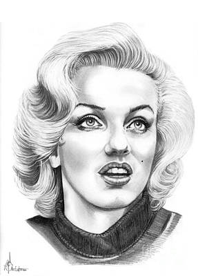 Famous People Drawing - Marilyn Monroe by Murphy Elliott