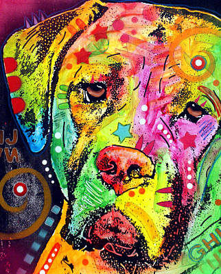 Dog Abstract Art Painting - Mastiff by Dean Russo