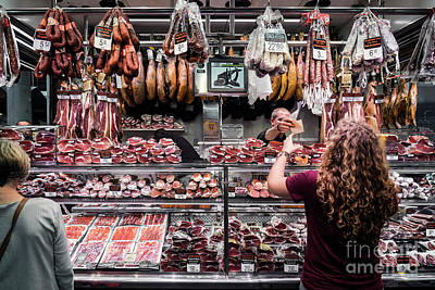 Photograph - Meat And Sausage Shop In La Boqueria Market Barcelona Spain by Jacek Malipan