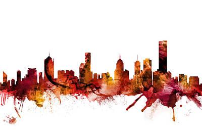 Digital Art - Melbourne Australia Skyline by Michael Tompsett