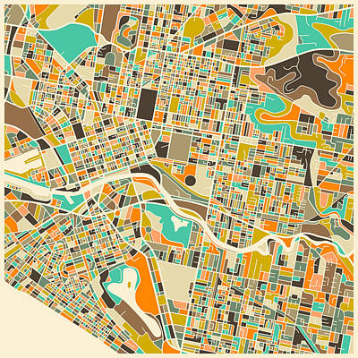 Abstract Map Digital Art - Melbourne Map by Jazzberry Blue