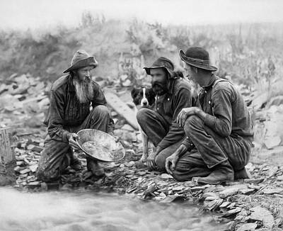 Gold Panning Digital Art - 3 Men And A Dog Pan For Gold Painterly - 1889 by Daniel Hagerman