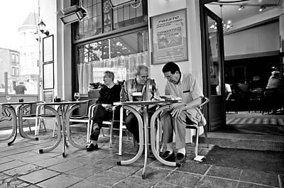 3 Men Brussels 2009 Art Print by Mark Chevalier