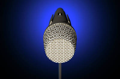 Jazz Digital Art - Microphone And Stand Dark by Allan Swart