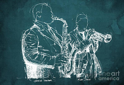 Jazz Band Drawing - Miles Davis And Charlie Parker On Stage, Original Sketch by Pablo Franchi