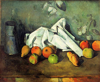 Canned Fruit Painting - Milk Can And Apples by Paul Cezanne