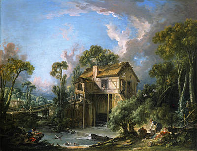 Laundry Painting - Mill At Charenton by Francois Boucher