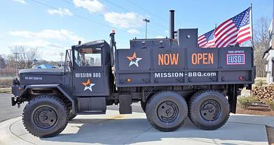 Mission Bbq Army Truck Art Print by Anthony Schafer