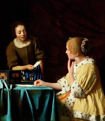 Johannes Vermeer Wall Art - Painting - Mistress And Maid by Johannes Vermeer