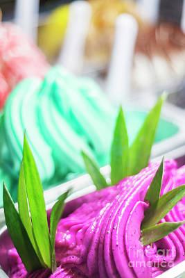 Mixed Colourful Gourmet Ice Cream Sweet Gelato In Shop Display Art Print