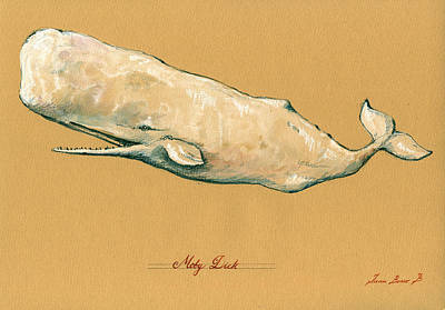 Whale Painting - Moby Dick The White Sperm Whale  by Juan  Bosco