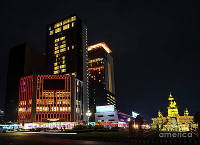 Photograph - Modern Buildings In Phnom Penh City Street Cambodia At Night by Jacek Malipan