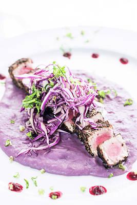 Photograph - Modern Fusion Gourmet Food Cuisine Seared Tuna Fish Meal by Jacek Malipan
