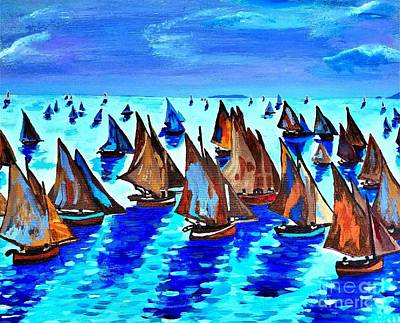 Monet Fishing Boats Calm Seas Art Print