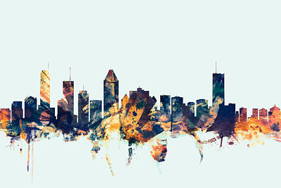 Montreal Cityscapes Digital Art - Montreal Canada Skyline by Michael Tompsett
