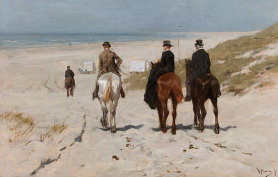 Anton Painting - Morning Ride Along The Beach by Anton Mauve