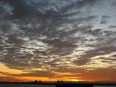 Staten Island Ferry In New York Photograph - Morning Sky by Robert McCulloch