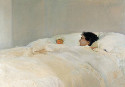 Nap Painting - Mother by Joaquin Sorolla y Bastida