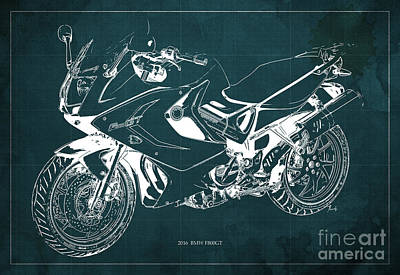 Motorcycle Digital Art - Motorcycle Bmw F800gt 2016 Blueprint Original Artwork by Pablo Franchi