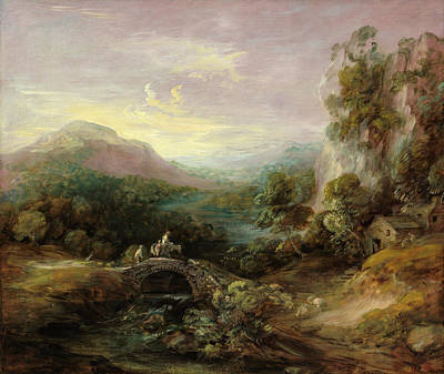 Waterfall Painting - Mountain Landscape With Bridge by Thomas Gainsborough