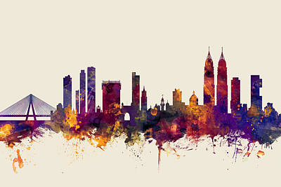 India Wall Art - Digital Art - Mumbai Skyline India Bombay by Michael Tompsett