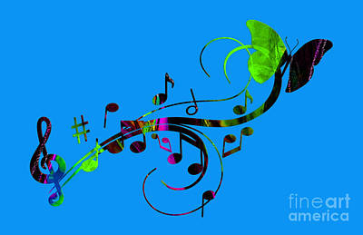 Butterflies Mixed Media - Music Flows Collection by Marvin Blaine
