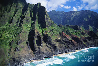 Photograph - Na Pali Coast Aerial by Bob Abraham - Printscapes