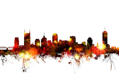 Landscape Digital Art - Nashville Tennessee Skyline by Michael Tompsett