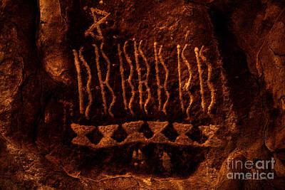 Native American Petroglyph On Sandstone Art Print by John Stephens