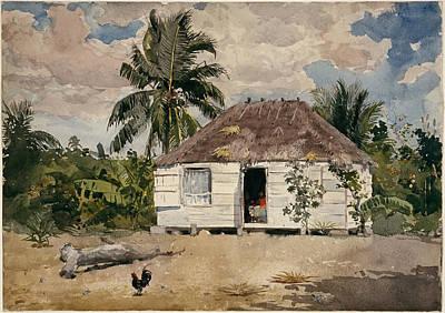 Winslow Homer Drawing - Native Huts. Nassau by Winslow Homer